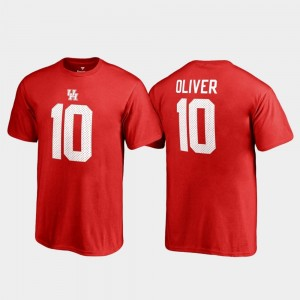 #10 Name & Number Youth(Kids) Red Ed Oliver College T-Shirt Legends Houston Cougars