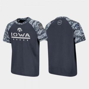 Raglan Digital Camo OHT Military Appreciation Iowa Hawk College T-Shirt Youth Charcoal