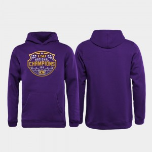 Purple College Hoodie LSU Football Playoff Official Logo Youth 2019 National Champions
