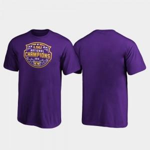 LSU Official Logo Football Playoff 2019 National Champions Purple College T-Shirt Kids