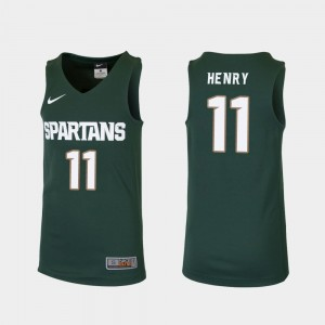 Aaron Henry College Jersey Michigan State University For Kids Basketball Replica #11 Green
