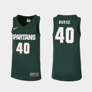 Michigan State Spartans Braden Burke College Jersey Green Youth(Kids) #40 Basketball Replica
