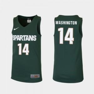 Green Michigan State Spartans Basketball #14 Replica Brock Washington College Jersey Kids