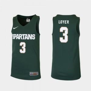#3 Basketball Foster Loyer College Jersey Green Replica Youth(Kids) MSU