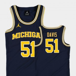 Austin Davis College Jersey Michigan Basketball Jordan Replica For Kids Navy #51