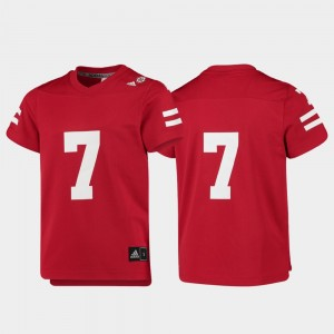 Scarlet #7 Cornhuskers Football Youth(Kids) Replica College Jersey