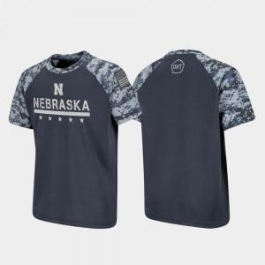 OHT Military Appreciation Charcoal College T-Shirt Raglan Digital Camo For Kids University of Nebraska
