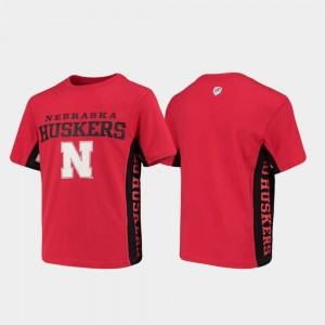 Cornhuskers Scarlet Youth Side Bar College T-Shirt