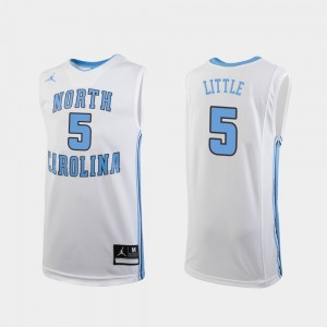 Replica Nassir Little College Jersey Youth(Kids) White Basketball #5 UNC