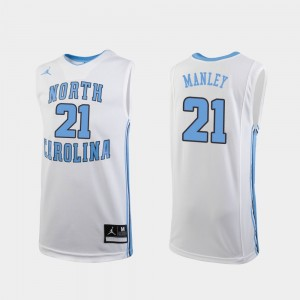 Sterling Manley College Jersey Replica #21 North Carolina Youth(Kids) White Basketball