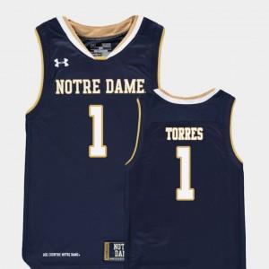Basketball #1 UND Replica Austin Torres College Jersey Youth Navy