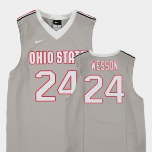 Kids Ohio State Buckeyes Gray Basketball Replica Andre Wesson College Jersey #24