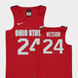 Replica #24 Red Buckeyes Andre Wesson College Jersey Basketball Youth(Kids)
