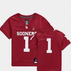 Crimson Football #1 Team Replica Youth Oklahoma Sooners College Jersey