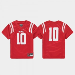 #10 Red Ole Miss Football College Jersey Replica For Kids