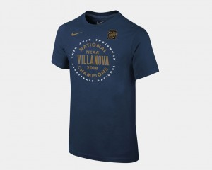 College T-Shirt Wildcats Youth(Kids) Basketball National Champions 2018 Celebration Navy