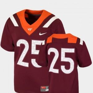 Maroon Kids VA Tech Football #25 Team Replica College Jersey