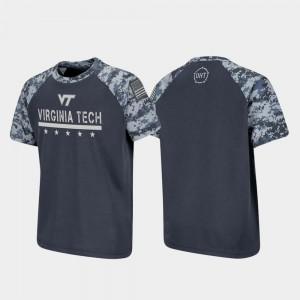 College T-Shirt For Kids VT Hokies OHT Military Appreciation Charcoal Raglan Digital Camo