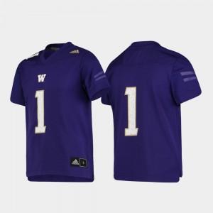 College Jersey UW Huskies #1 Football Replica For Kids Purple