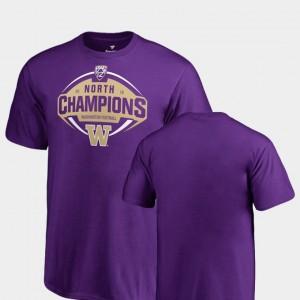 College T-Shirt 2018 PAC-12 Football Champions Purple Washington Huskies Youth(Kids) North Division