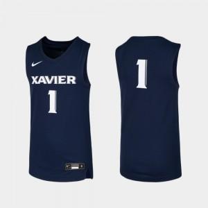 Xavier #1 College Jersey For Kids Navy Basketball Replica